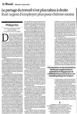 Tribune journal Le Monde sur l'emploi par Philippe Bas 11.01.2012