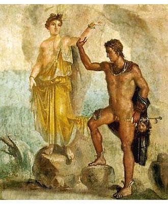 Perseo libera Andromeda, tiene la testa di Medusa con la mano sinistra. Affresco di Pompei, Museo Archeologico Nazionale, Napoli