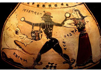 Il mostro Ceto minaccia Andromeda e viene sconfitto da Perseo. Vaso corinzio, V sec a.C. Altes Museum, Berlino