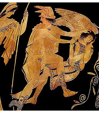Perseo guidato da Atena nell'atto di decapitare Medusa dormiente. Pelyke, attribuito a Polygnotos, circa 450 a.C. Metropolitan Museum, New York