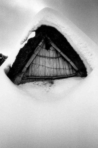 House and snow, Sannai Maruyama, Aomori, Japan.