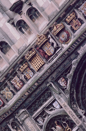 Exterior detail, Canterbury Cathedral, UK.