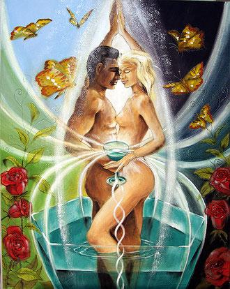 Die Liebenden Sakis-Tarot, gemalt von Jopie Bopp, Leinwandbild Poster