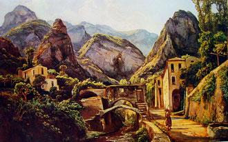 """Ercole Gigante (figlio di Giacinto) """"La Valle dei mulini di Amalfi"""" - 1851"""