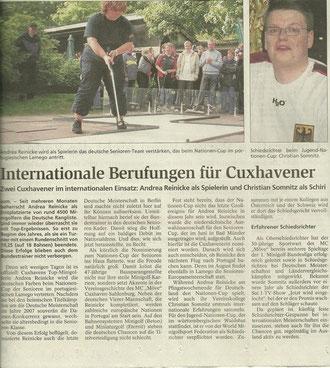 Andrea Reinicke und Christian Somnitz im internationalen Einsatz; Artikel aus den Cuxhavener Nachrichten vom 13.5.2009