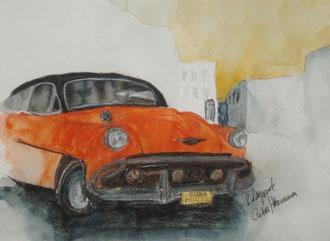 Oldtimer in Havana (Mischtechnik)