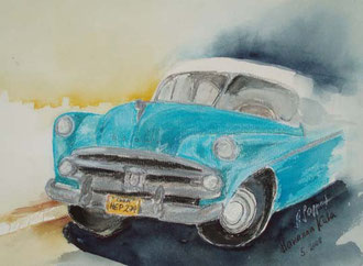 Dodge in Havanna (Pastellkreide)