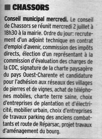 Article Charente Libre du 28 juin 2014