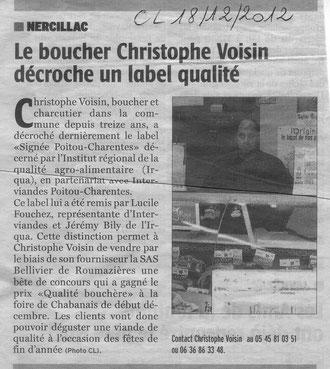 Photo Charente Libre 18/12/2012
