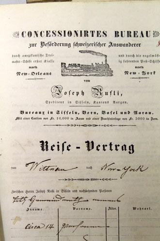 """Dick im Geschäft war auch der Sissler Wirt Joseph Rufli. Dieser  Reisevertrag wurde von der Gemeinde Wittnau für """"circa 14 Personen"""" abgeschlossen."""