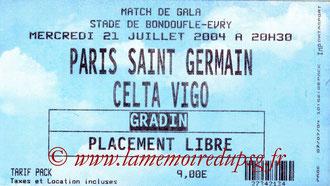 Ticket  PSG-Celta Vigo  2004-05