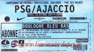 Ticket  PSG-Ajaccio  2004-05