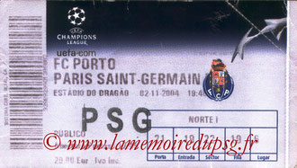 Ticket  Porto-PSG  2004-05
