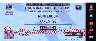 Tickets  Montluçon-PSG  2008-09
