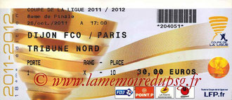 Ticket  Dijon-PSG  2011-12
