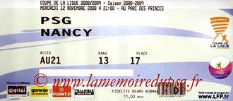 Ticket  PSG-Nancy  2008-09