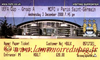 Tickets  Manchester City-PSG  2008-09