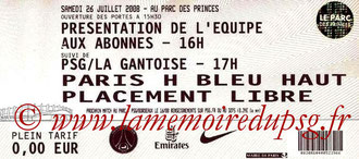 Ticket  PSG-La Gantoise  2008-09