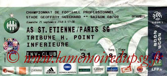 Ticket  Saint Etienne-PSG  2008-09