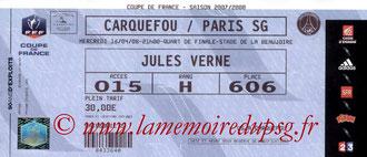 Ticket  Carquefou-PSG  2007-08
