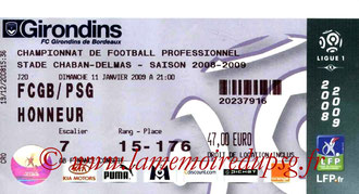 Ticket  Bordeaux-PSG  2008-09