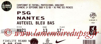 Ticket  PSG-Nantes  2008-09