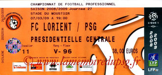 Ticket  Lorient-PSG  2008-09