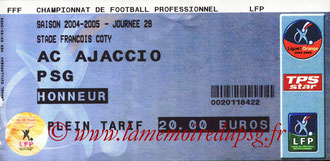 Ticket  Ajaccio-PSG  2004-05