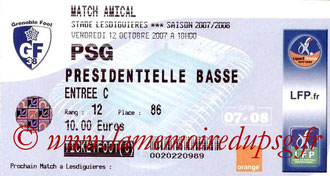 Ticket  Grenoble-PSG  2007-08