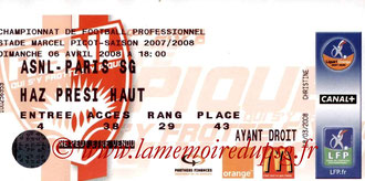 Ticket  Nancy-PSG  2007-08