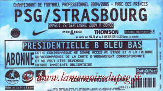 Ticket  PSG-Strasbourg  2004-05