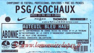 Ticket  PSG-Sochaux  2004-05