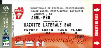 Ticket  Nancy-PSG  2011-12