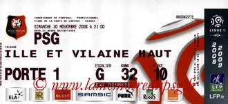 Ticket  Rennes-PSG  2008-09