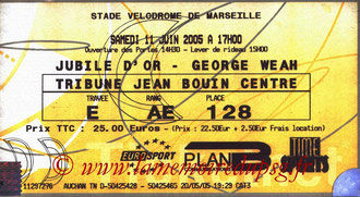 Ticket  Jubilé Geroge Weah  2004-05 (Billetel)