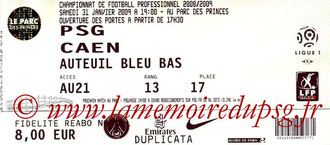 Ticket  PSG-Caen  2008-09