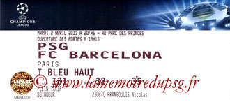 Ticket  PSG-Barcelone  2012-13