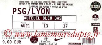 Ticket  PSG-Lyon  2007-08