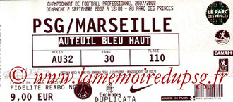 Ticket  PSG-Marseille  2007-08