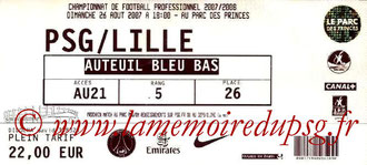 Ticket  PSG-Lille  2007-08