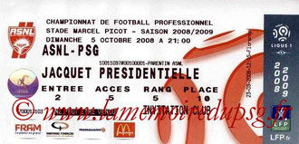 Ticket  Nancy-PSG  2008-09