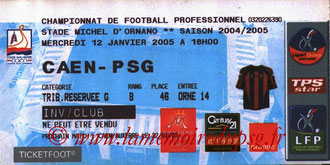 Ticket  Caen-PSG  2004-05