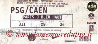 Ticket  PSG-Caen  2007-08