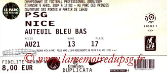 Ticket  PSG-Nice  2008-09