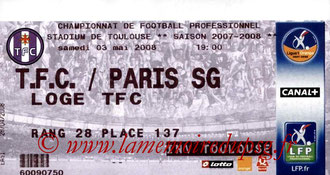 Ticket  Toulouse-PSG  2007-08