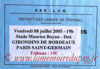 Ticket  Bordeaux-PSG  2005-06