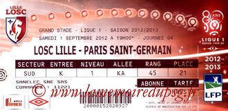 Ticket  Lille-PSG  2012-13