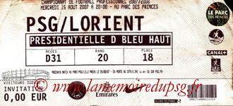 Ticket  PSG-Lorient  2007-08
