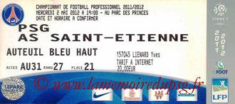 Ticket  PSG-Saint Etienne  2011-12