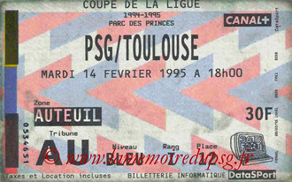 Ticket  PSG-Toulouse  1994-95